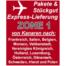 """Express delivery from Gran Canaria to """"Zone 1"""" countries"""