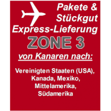 """Express delivery from Gran Canaria to """"Zone 3"""" countries"""