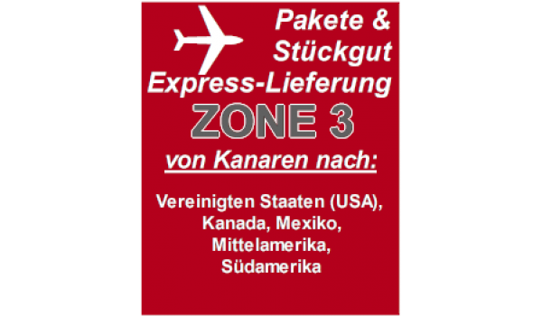 "Express delivery from Gran Canaria to ""Zone 3"" countries"