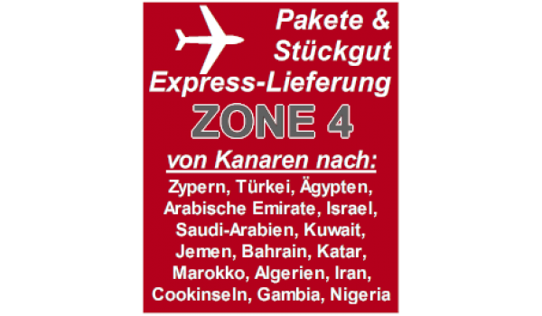 "Express delivery from Gran Canaria to ""Zone 4"" countries"