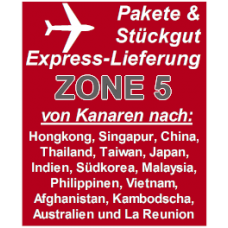 """Express delivery from Gran Canaria to """"Zone 5"""" countries"""