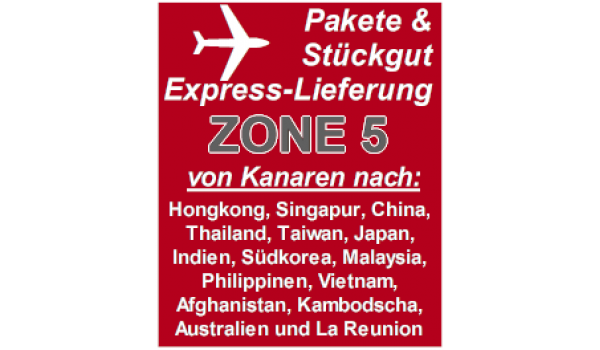 "Express delivery from Gran Canaria to ""Zone 5"" countries"