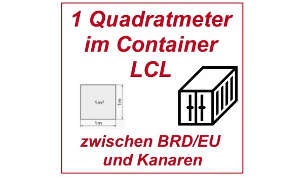 Freight of more than 1 square meter in consolidated container (LCL)